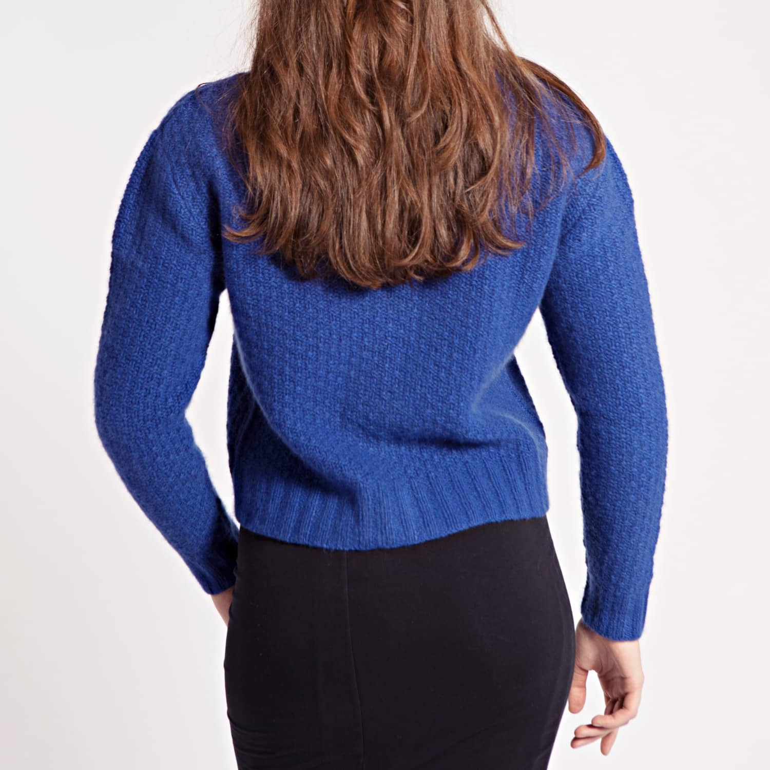 Blue Hand knitted Cardigan Jacket with Gold Buttons | Asneh | Wolf ...