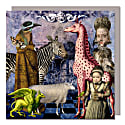 Set Of Five Greeting Cards With Envelopes featuring a Vintage Zoo image