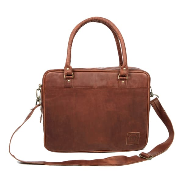 """MAHI LEATHER Leather Oxford Zip-Up Satchel Briefcase Bag With 15"""" Laptop Capacity in Vintage Brown"""