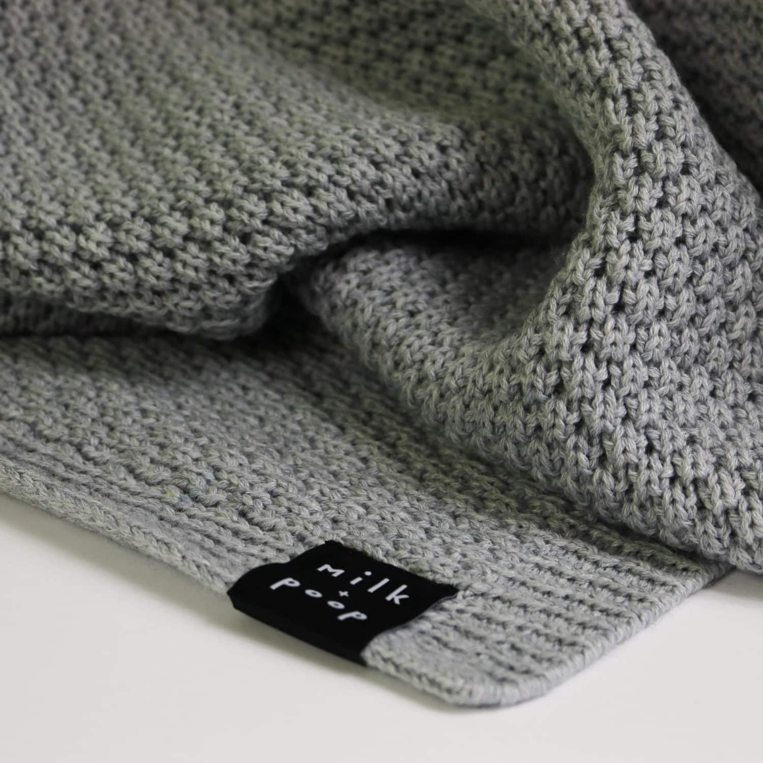 Knitted Merino Baby Blanket in Grey by Milk and Poop
