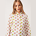 Nancy Long Sleeve Shirt In White Daisy Print image