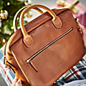 Luxe Tan Leather Laptop Bag image