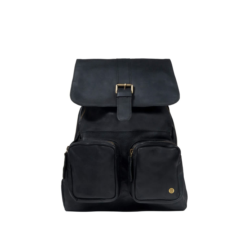 Leather Roma Backpack Rucksack In Ebony Black image 9cc85db466922