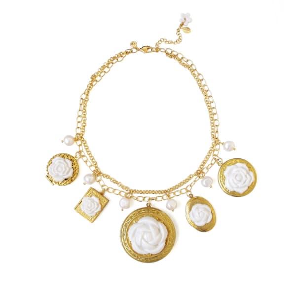 POPORCELAIN Porcelain Floral Lockets Statement Necklace