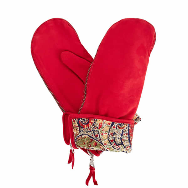 Psyche Red Nubuk Suede Gloves With Bf Liberty Tana Lawn