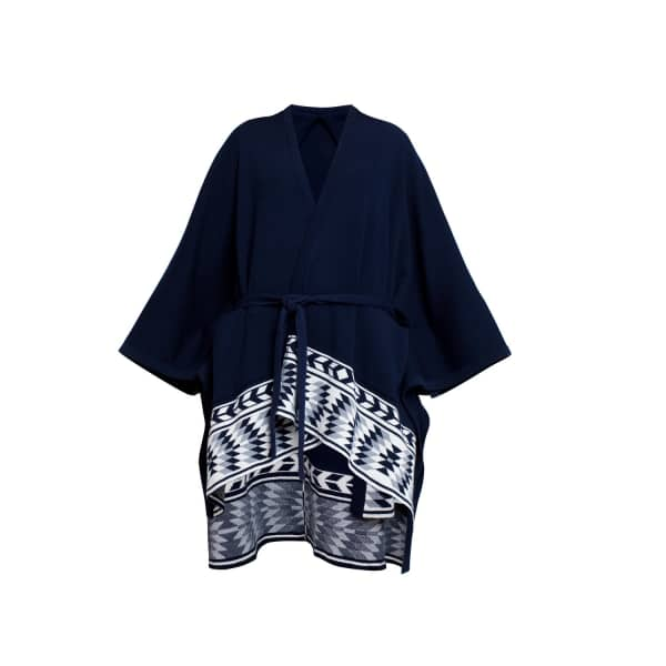 RUMOUR LONDON IVANA Wool Merino Cape with Ethnic Motifs