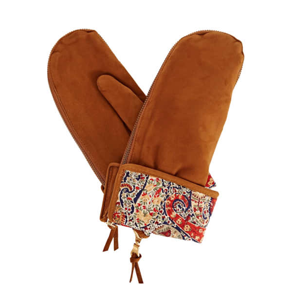 Psyche Tan Brown Nubuk Suede Gloves With Bf Liberty Tana Lawn