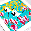 Giclee Print - Red Crowned Crane, Magnolia & Ginkgo image