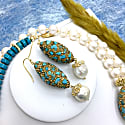 Rhinestone Bordered Turquoise With Freshwater Pearls Earrings image