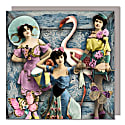 Set Of Five Greeting Cards With Envelopes featuring The Flamingo Girls image