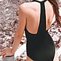 Flamingo Plunging Halter Racerback Onepiece Swimsuit Black image