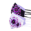Pack Of 2 Two-Sided Daisy & Black/White/Purple Silk Face Mask image