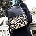 Mini Backpack In Ebony Black Leather With Leopard Print Pony Hair Front Pocket image