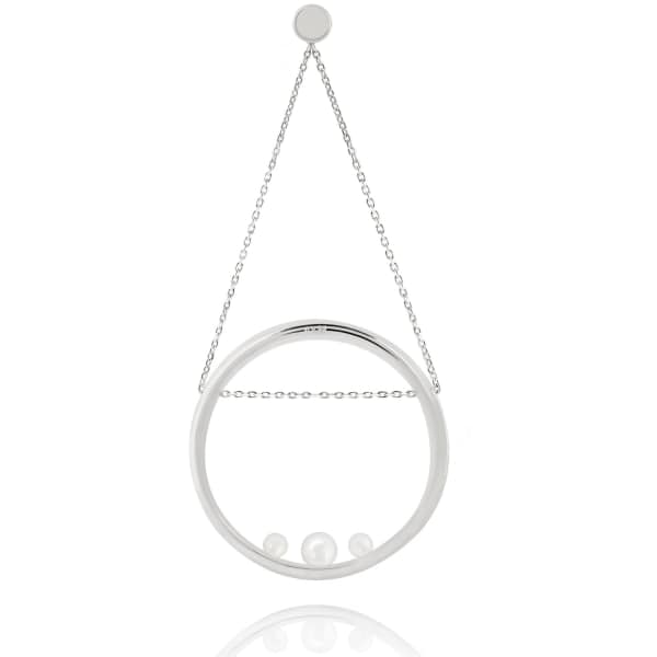 ASTRID & MIYU Pearl Spiral Swing Earring In White Gold