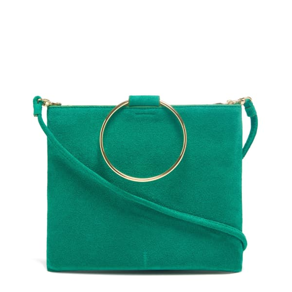 THACKER NEW YORK Le Pouch in Vert Suede