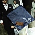 Regent Navy Blue African Print Pocket Square With Leather Label image