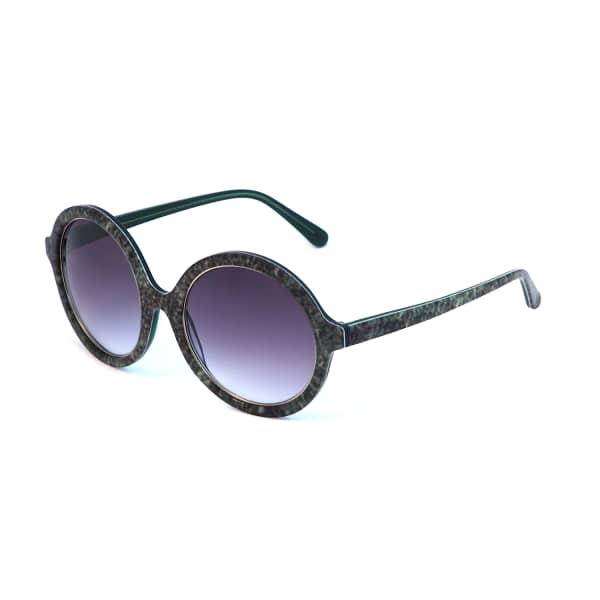 HEIDI LONDON Denim Print Circular Sunglasses Green