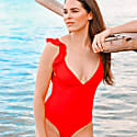 Toucan Lowback Onepiece With Ruffle Shoulders Red image