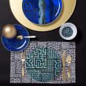 Dessert Plate Blue Maze image
