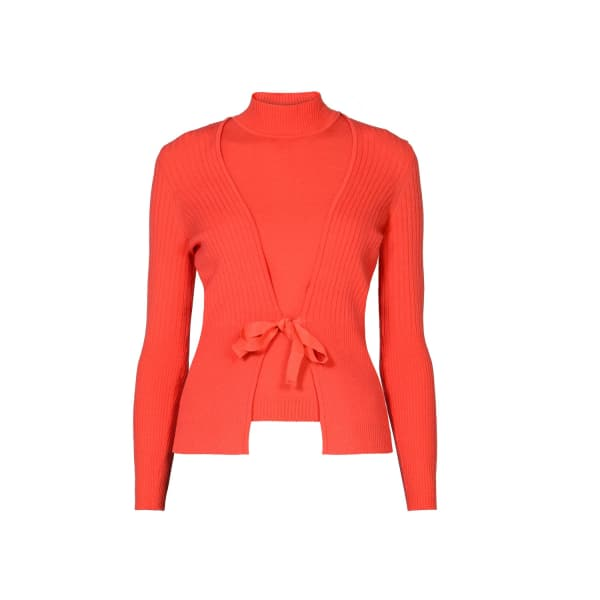 RUMOUR LONDON Erika & Erin Coral Two-piece Merino Wool Set