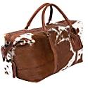 Leather Long Armada Duffle Large Weekend / Overnight Holdall Bag - Animal Print Pony Hair image