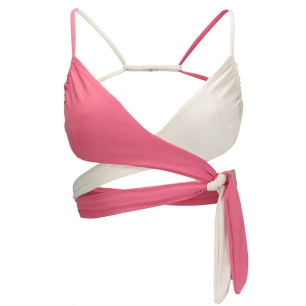 Pink bikini top with red kiss detail