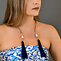 Gold Sea & Sand Blue Tassels Choker image
