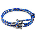 Royal Blue Union Anchor Silver & Braided Leather Bracelet image