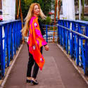 Kalighat Cat Silk Scarf Collection Pink & Orange image