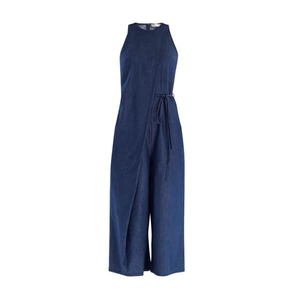 Paisie Denim Jumpsuit With Front Overlay & Side Tie (With Self Belt) In Blue