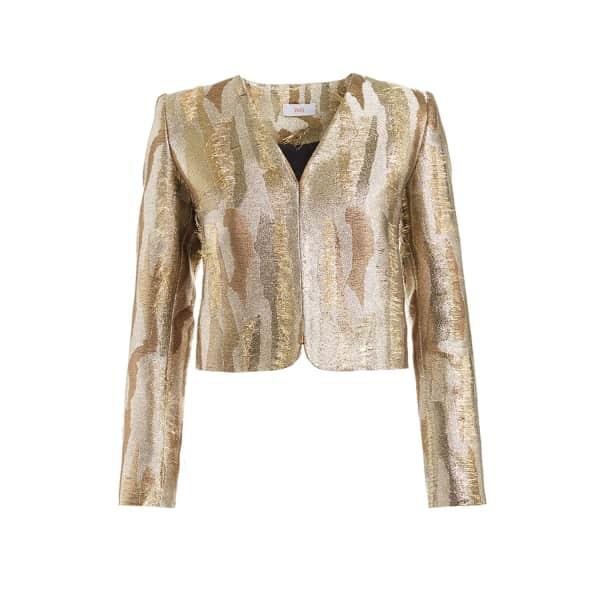 WTR  Braque Gold Cropped Jacquard Jacket