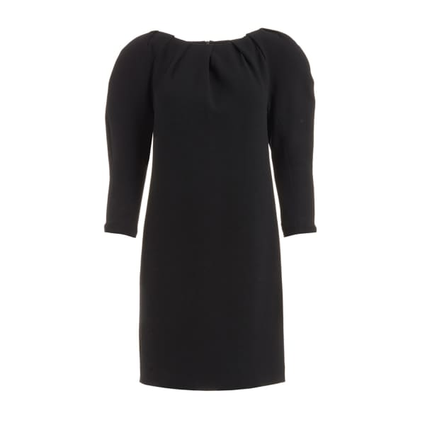 Vera Black Padded Shoulder Wool Dress