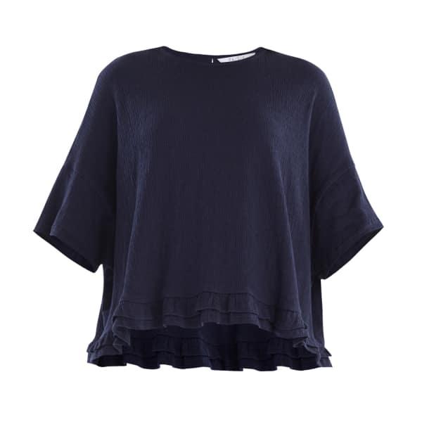 PAISIE Oversized Jersey Top with Drop Hem Ruffle in Navy