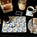 Set of 4 Flock Placemats - Blue & Ochre Swallow Print on White image