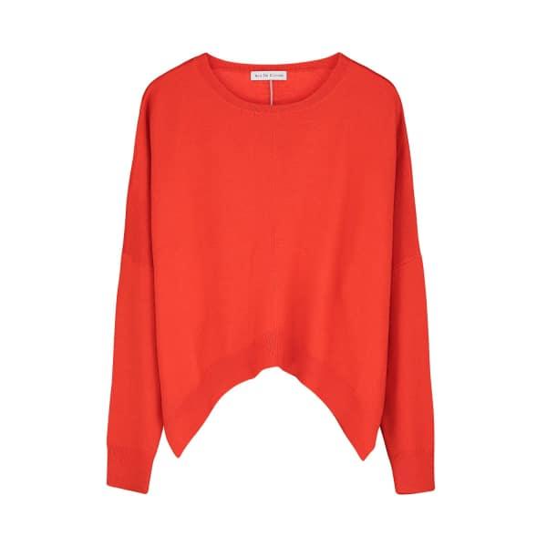 ILLE DE COCOS Merino Cropped Sweater Red