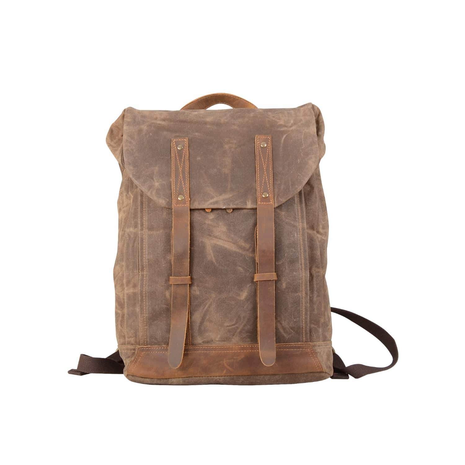 c1243bf58f Leather Straps Waxed Canvas Backpack Brown image