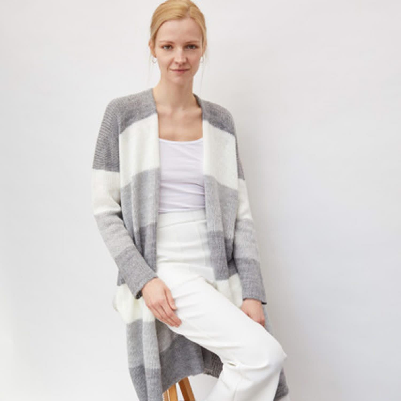 Long Striped Cardigan White by You by Tokarska