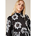 Betty Dress With Puffed Long Sleeve & High Neck In Blue & Black Poppy image