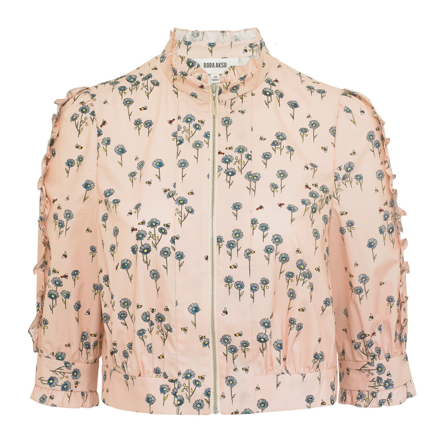 Floral Print Cotton Cropped Jacket