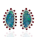 Natural Gemstone Gold 18Kt Opal Doublet Ruby Genuine Diamond Women Stud Earring Jewelry image