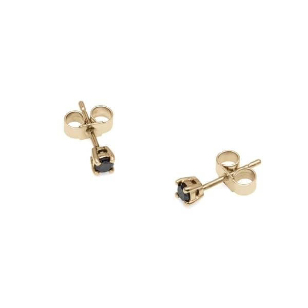 MYIA BONNER 9ct Yellow Gold & Black Diamond Stud Earrings