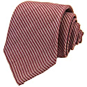 Red Small Striped Washed Silk Tie image