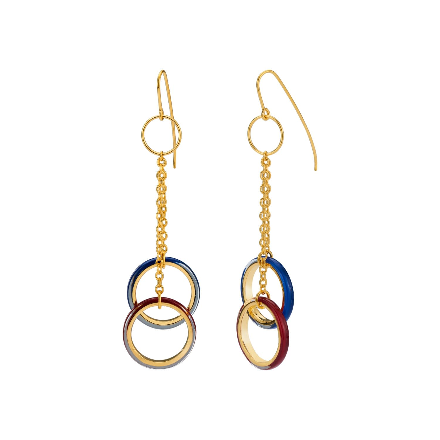 Artisan Earrings Handcrafted Double Drop Earrings Sterling and 14k Gold Filled