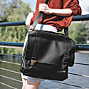 Leather Classic Satchel Messenger Bag In Ebony Black image