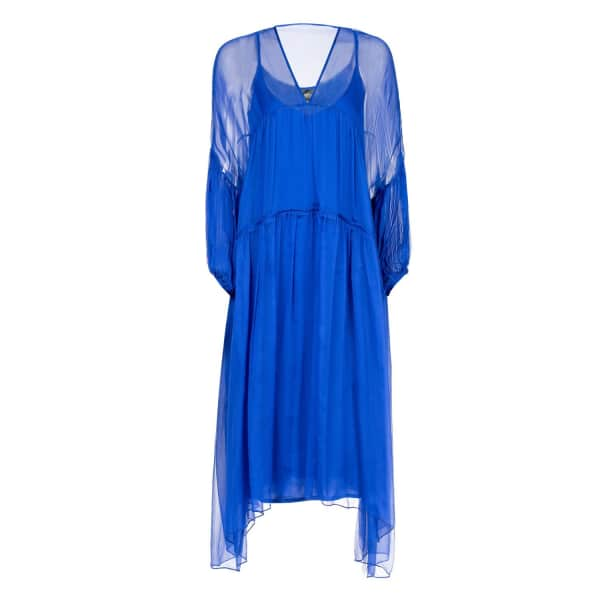 NISSA Loose Silk Dress with Puffed Sleeves In Blue