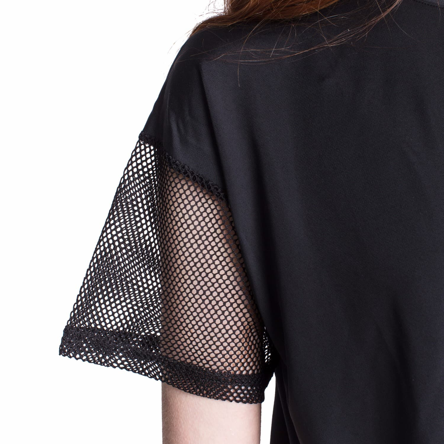 ffed4926859 Black T-Shirt with Mesh Sleeves & Twist Front by Okayla