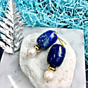 Nugget Natural Lapis Lazuli & Round Freshwater Pearls Drop Earrings image