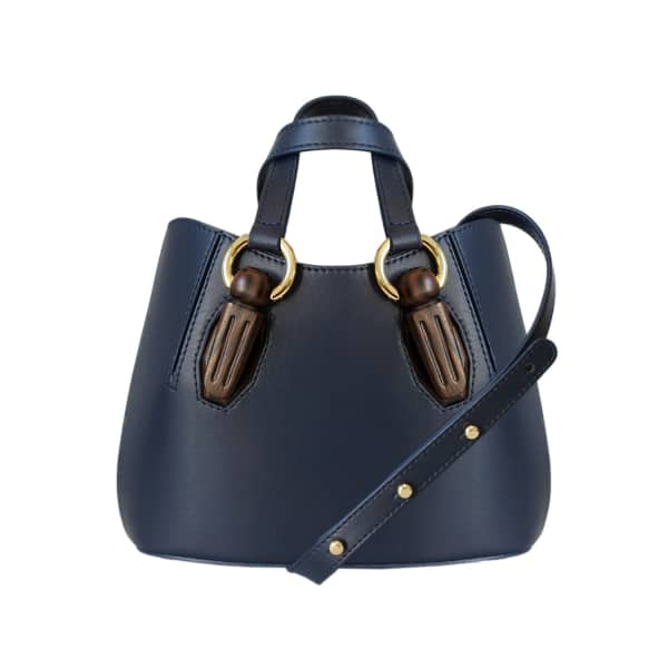 AEVHA LONDON Mini Garnet Tote In Navy With Wooden Hardware