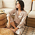 22Mm Organic Silk Pajamas Button Down Pant Set-Audrey Grey image