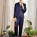 Classic Men'S Silk Pajama 2-Piece Set - Dark Blue image